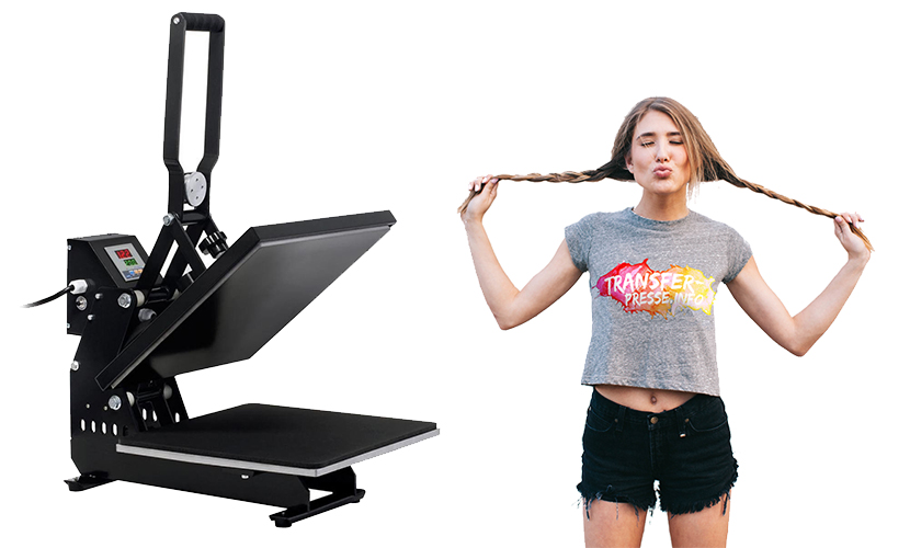 geöffnete Transferpresse der Marke HeuSa Tech und Mädchen mit bedrucktem T-Shirt