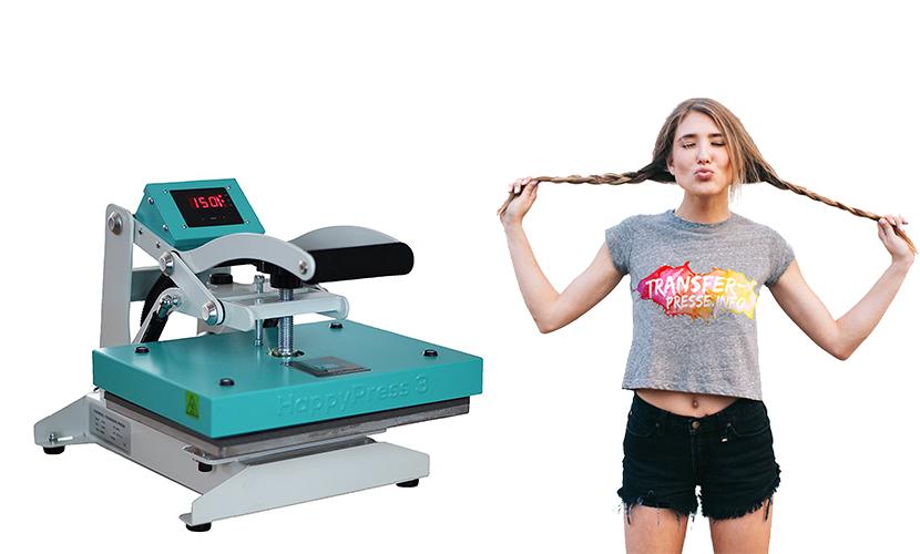 Transferpresse Happypress in türkis und Mädchen mit bedrucktem T-Shirt