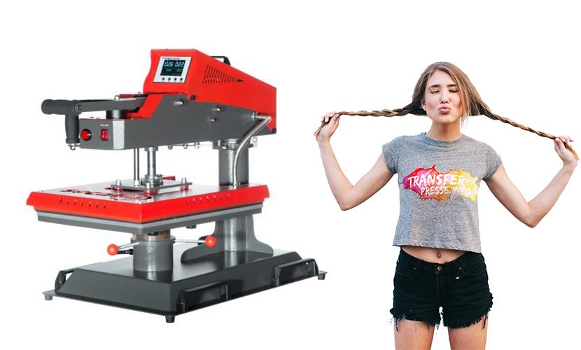 Transferpresse der Marke Secabo in rot und Mädchen mit bedrucktem T-Shirt